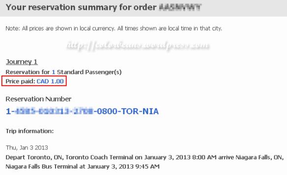 訂到Mega Bus 一元車票,拿這張email通知函來去搭車摟!