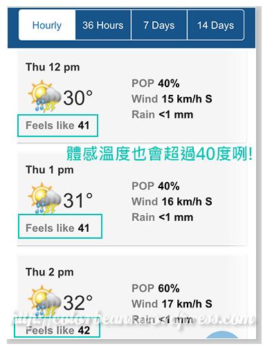 有熱浪來襲時,體感溫度也會超過40度喔!