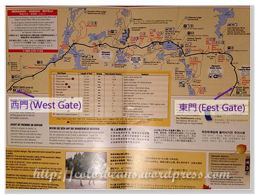 Algonquin Park的旅遊路線圖
