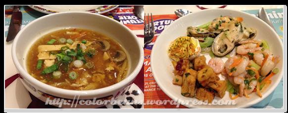 老外也很愛酸辣湯,右邊則是各種冷食沙拉