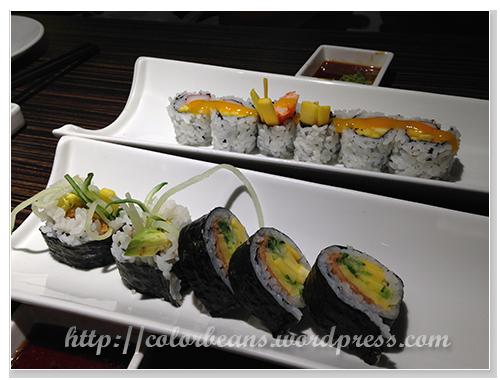不同口味的maki rolls