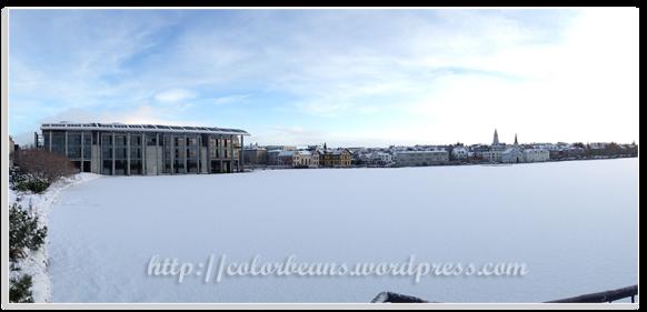 市政廳前的池塘結冰&被白雪覆蓋