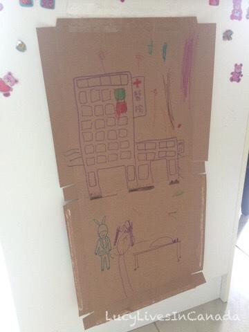 廢紙盒和櫥櫃變畫板
