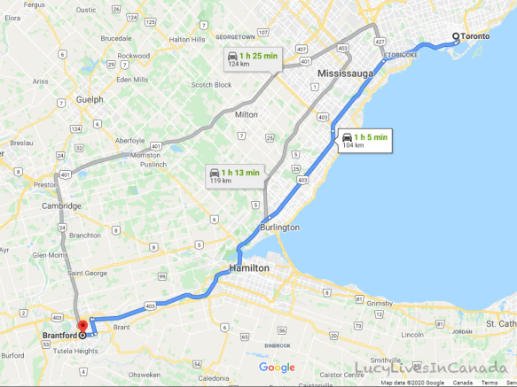 Toronto開車到Brantford約一個多小時